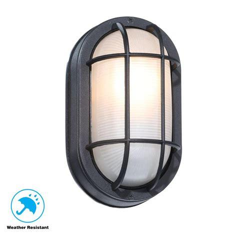hton bay black outdoor oval bulkhead wall light hb8822p