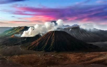 Volcano Wulkany Batok Bromo Indonezji Sunset Mountain