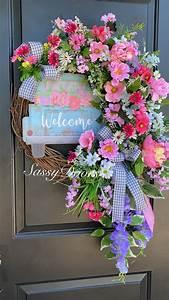 Spring, And, Summer, Door, Wreath, Daisy, Wreath, Mother, U2019s, Day, Wreath, Sassy, Doors, Wreath