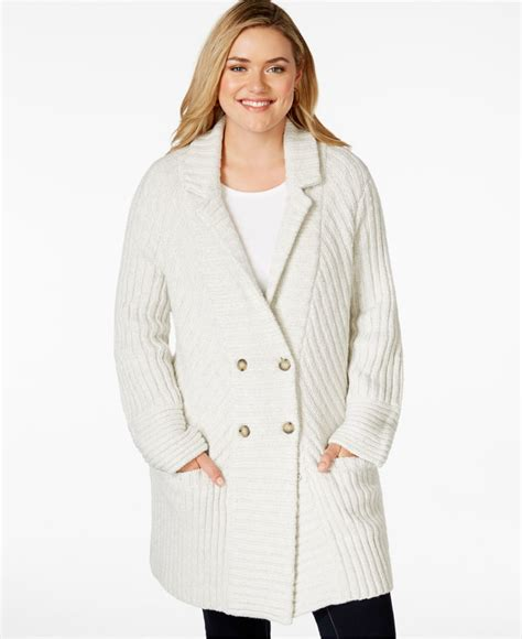 plus size sweaters lucky brand plus size rib knit sweater coat in lyst