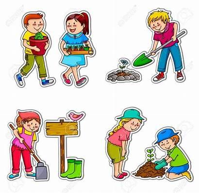 Clipart Gardening Children Planting Working Illustration Jardinier
