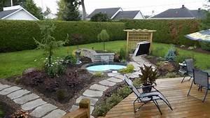 beau idee amenagement exterieur entree maison 16 With idee amenagement jardin avec piscine