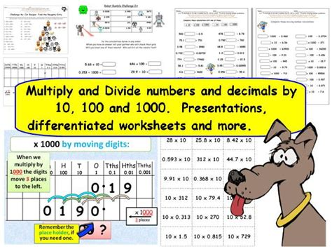 y5 y6 multiply divide numbers decimals by 10 100 and 1000 presentations worksheets more