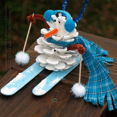 snowman arts and crafts pinecone snowman crafts by amanda 5448