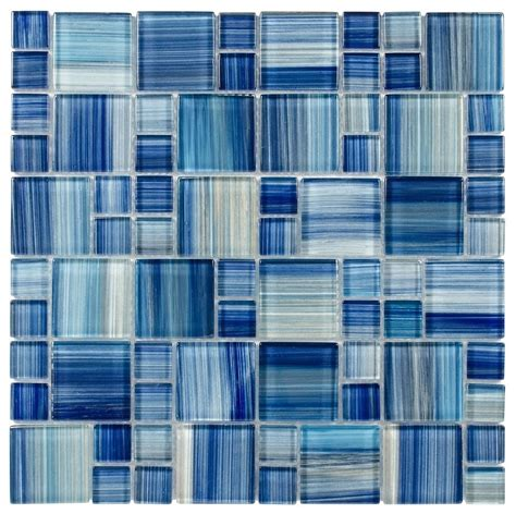 glass mosaic tile aquarella blue mineral tiles