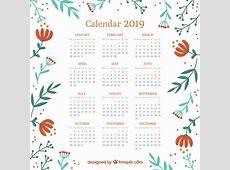 Calendario 2019 con elementos florales Descargar