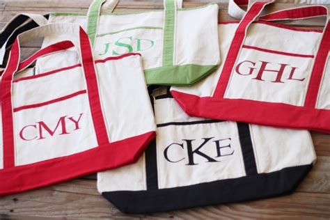 monogrammed canvas totes tutorial