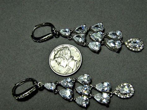 Chandelier Earrings Sterling Silver Cz Dangle Bold Look