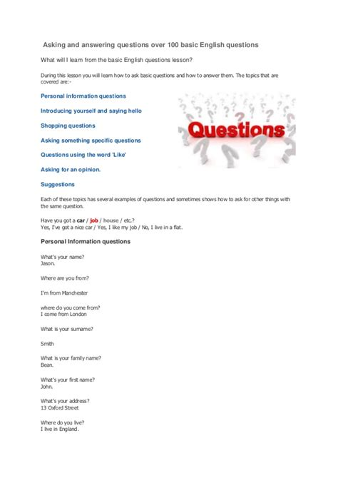 Asking And Answering Questions Over 100 Basic English Questions