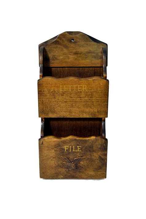 pocket wooden mail holder vintage letter file