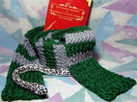 Harry Potter inspired knitted Slytherin green & silver
