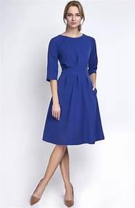 pleated casual blue dress marina lan 122 bl idresstocode With robe évasée femme