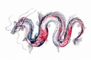 Koi Dragon - Art Print of Koi Fish Watercolor Painting ...