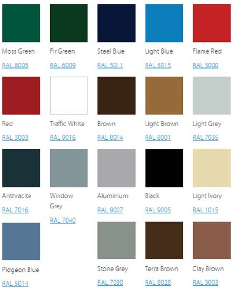 seceuroglide sectional garage door colour chart