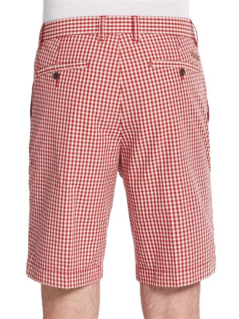 Gingham Shorts ben sherman gingham cotton shorts in for lyst
