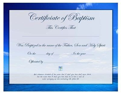 Baptism Certificate Template Free by Free Printable Baptism Certificate Template Church