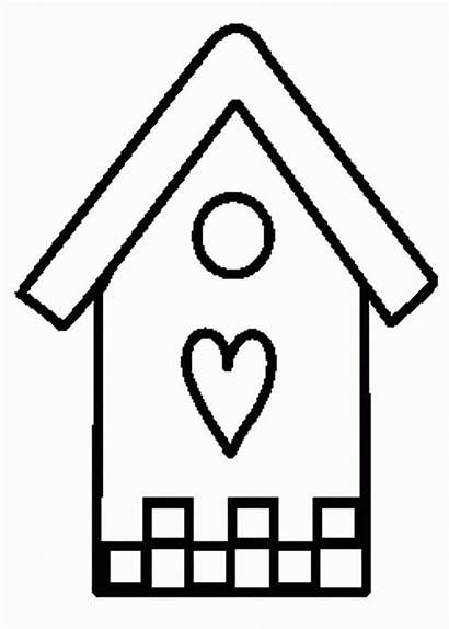 Coloring Bird Pages Birdhouse Clipart Printable Houses