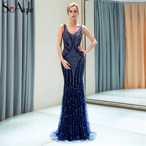 soayle straight beaded  evening dresses feathers