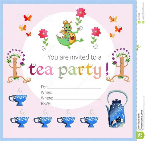 tea party invitation  kids stock vector illustration