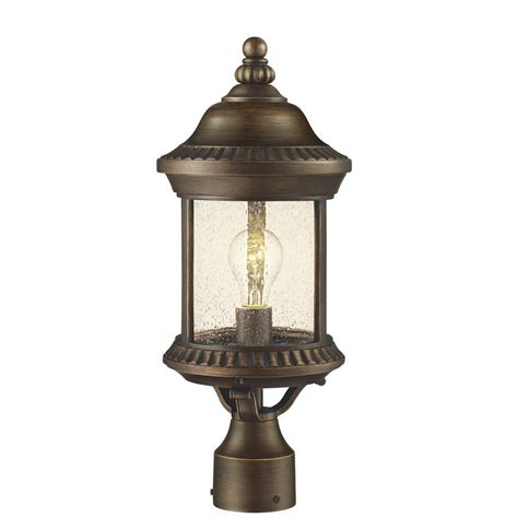 Backyard Lighting Home Depot by Hton Bay Cambridge 1 Light Outdoor Essex Bronze Post