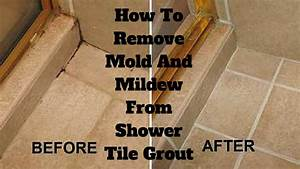 How to remove mold and mildew from shower tile grout for How to remove grout from floor tile