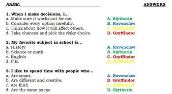 harry potter sorting hat quiz  students  answer key