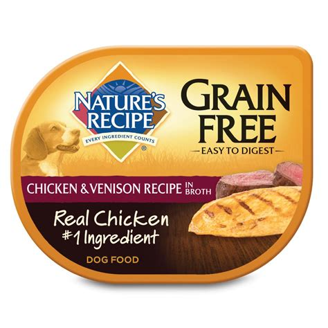 natures recipe grain  adult dog food trays chicken