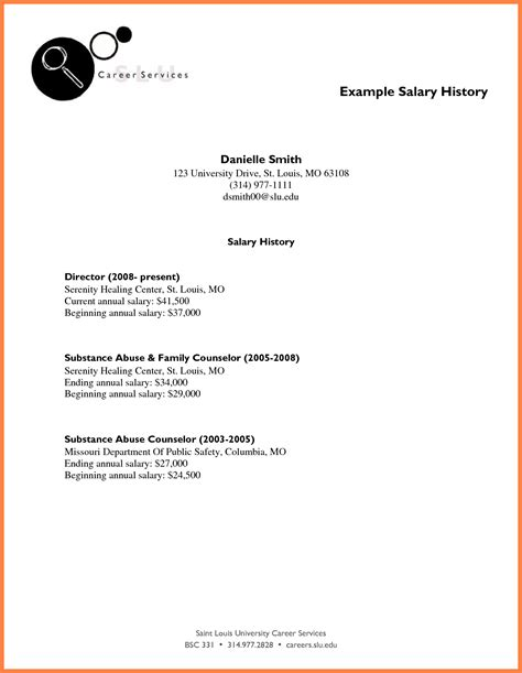 7 Salary History In Cover by 3 Including Salary History In Cover Letter Salary Slip