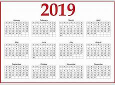2019 Calendar Printable One Page Template