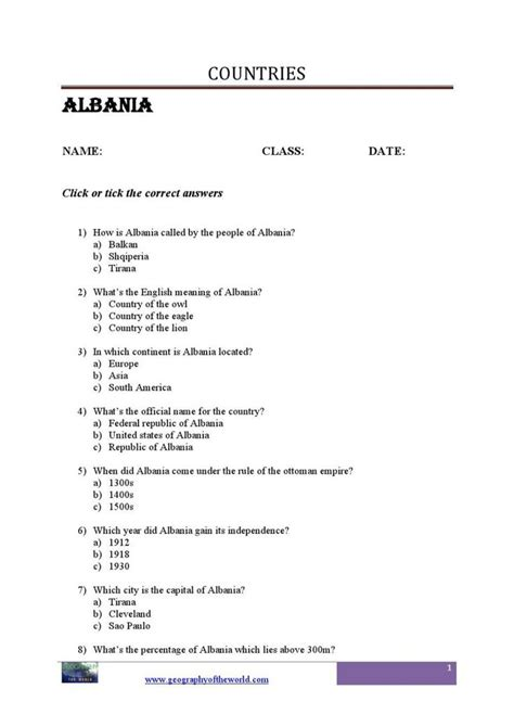 albania country  images geography worksheets