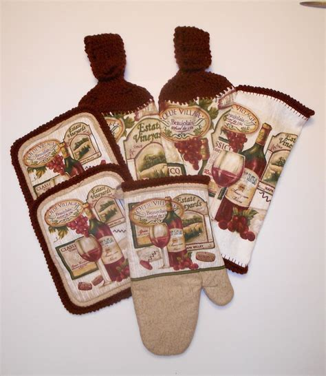 kitchen towel set crochet hanging towels vineyard themed