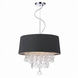 Decorative contemporary ceiling pendant in grey w crystal