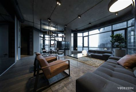dark apartment  kiev maximizes space  reflective