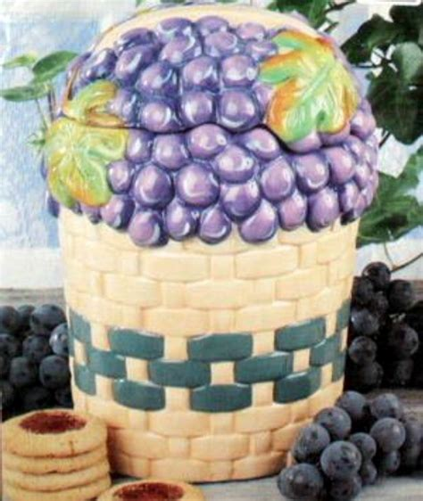 grape kitchen accessories this basket of grapes cookie jar is a accessory for a 1308