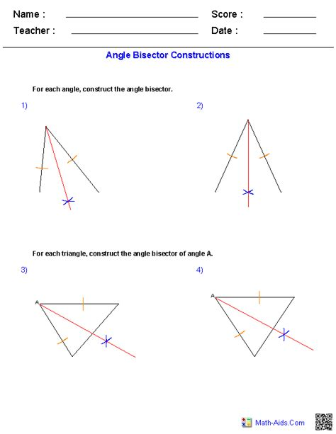 angle bisectors constructions worksheets teaching math