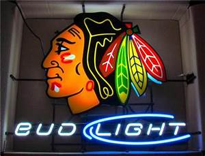 AUTHENTIC Bud Light Chicago Blackhawks NHL Neon Bar Sign
