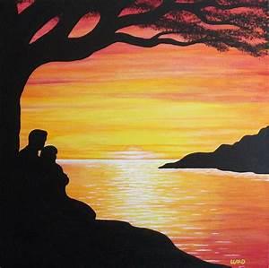 Romantic Sunset by George Bryan Ward | Art- Silhouette ...