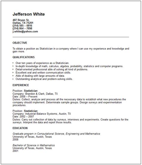 Statistician Resume Sle by Exles On Resumes 57 Images Resume Sle 1 Resume Exles