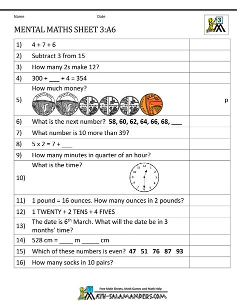 year 3 mental maths worksheets