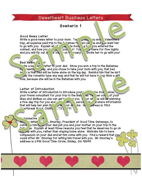dayley supplements sweetheart business letters scenario