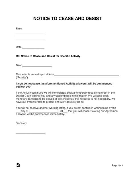 cease  desist letter templates  sample