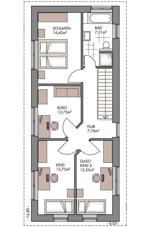 Grundriss Haus Schmales Grundstück einfamilienhaus grundriss schmal obergeschoss mit
