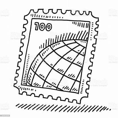 Stamp Drawing Postage Globe Briefmarke Zeichnung Welt