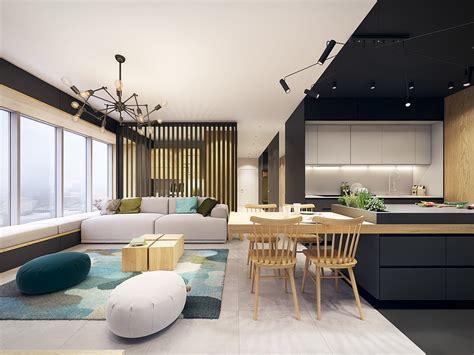 cuisiner le lieu noir appartement design avec des touches de couleurs turquoise