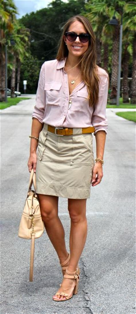 Best 25+ Khaki Skirt Outfits ideas on Pinterest | Modest outfits Midi skirt and Casual skirts