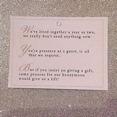 money wedding registry 5 x wedding poem cards for invitations money gift