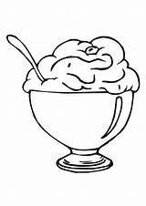 Cream Ice Sundae Coloring Cartoon Clipart Cup Library sketch template
