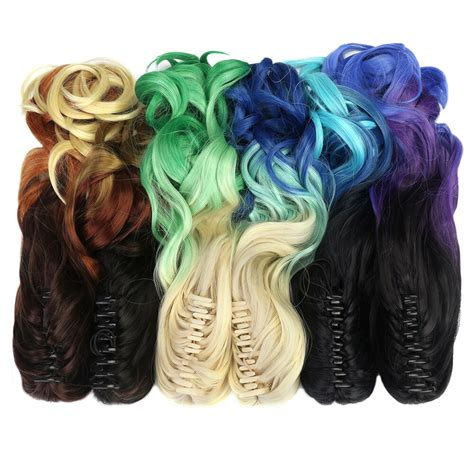 Aimei Synthetic Ponytails 20 50cm Wavy Ombre Blonde Blue
