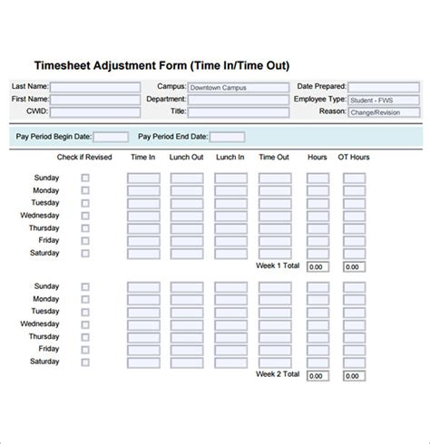employee timesheet samples sample templates