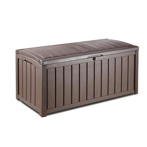 suncast 134 gal resin wicker deck box bmdb134004 the home depot